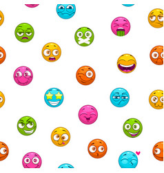 seamless pattern with funny cartoon colorful emoji vector image