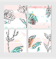 set of artistic creative universal cards hand vector image