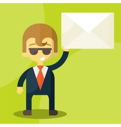 Set of businessman holding letter vector image