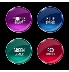 Set of glass purple blue red and green banners vector