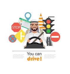 set of road symbols and driver arab men character vector image