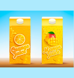 set of two juice tetra packs with different tastes vector image