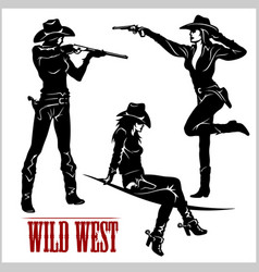 Silhouettes western cowgirls vector