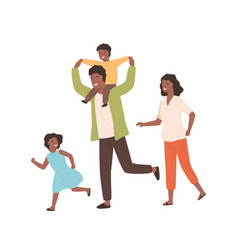 Smiling family playing having fun together vector