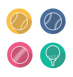 sport game balls flat linear long shadow icons set vector image