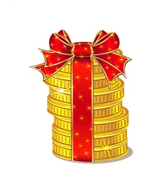 Stack of gold coins with ribbon and bow vector