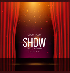Stage with red open curtains vector