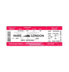 Train pass ticket isolated on white background vector