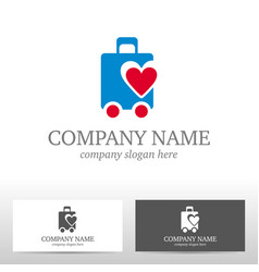Travel logo design with bag and heart vector
