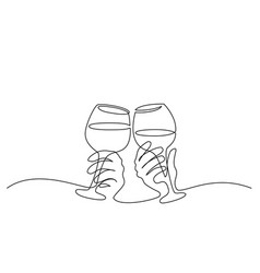 Two hands cheering with glasses of wine vector