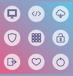 user icons line style set with application exit vector image