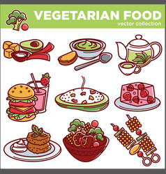 Vegetarian food dishes or vegan veggie menu vector