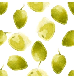 watercolor olives pattern vector image