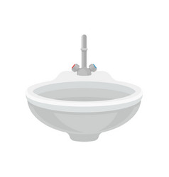 white bathroom ceramic sink with metal mixer vector image