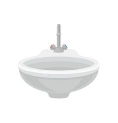 White bathroom ceramic sink with metal mixer vector