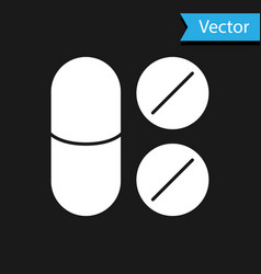 White toothache painkiller tablet icon isolated on vector
