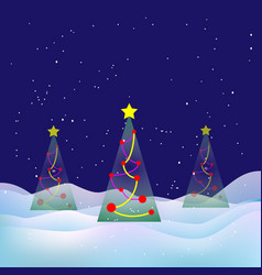 winter christmas landscape snowy night xmas tree vector image