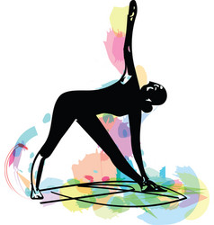 woman doing yoga abstract lines drawing vector image
