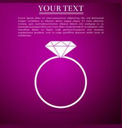 diamond engagement ring icon on purple background vector image