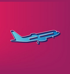 flying plane sign side view blue 3d vector image