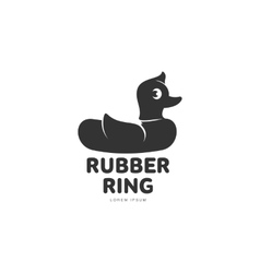 Logo template with graphic rubber duck swimming vector