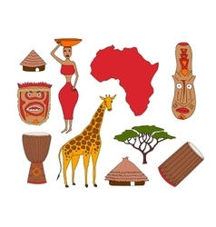 set of african symbols vector image vector image