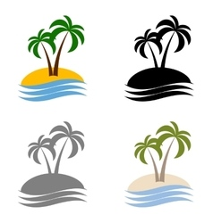 set palms logo vector image