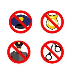 Stop cop set icon It is forbidden by police vector image vector image