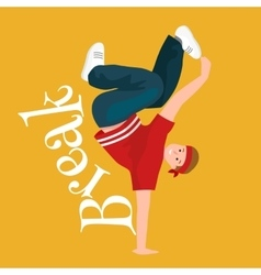 Teenager boy dancing hip hop style isolated vector image