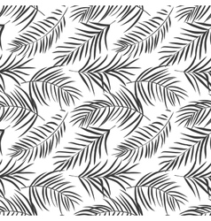 Tropical palm leaves isolated on white seamless vector