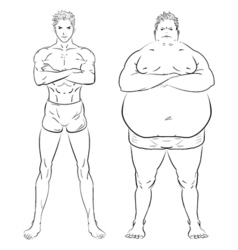 two different men fat skinny and muscular Hand vector image