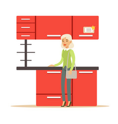 woman buying red kitchen set smiling shopper in vector image