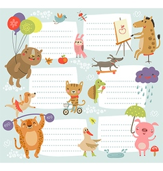 Background with cute characters vector image vector image