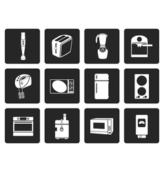 Black kitchen and home equipment icons vector
