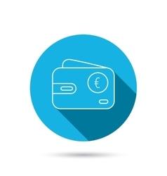 Euro wallet icon EUR cash money bag sign vector image vector image