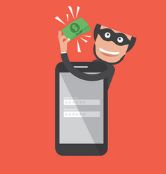 hacker breaks into smartphone data theft vector image vector image