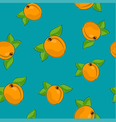 seamless pattern apricot on azure background vector image vector image