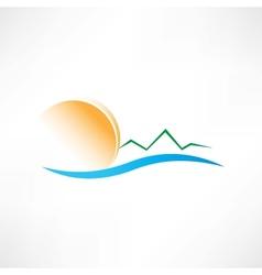 seascape at sunrise icon vector image