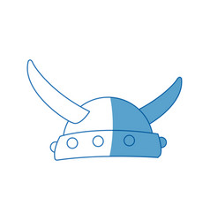 Viking in horned helmet mask man halloween vector