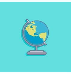 with earth globe in flat style design vector image vector image