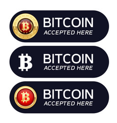 bitcoins accepted here banner - cryptocurrency vector image