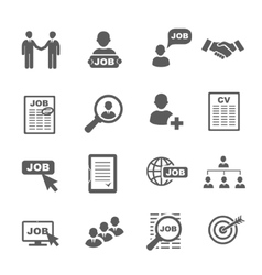 black job search icons set vector image vector image