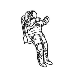 doodle astronaut sketch hand drawn vector image