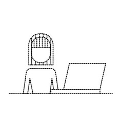 female portrait with laptop working vector image