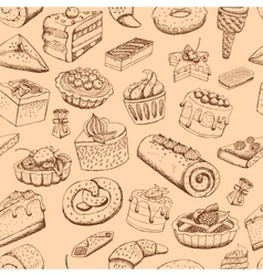 Seamless sweet pastries vector image vector image