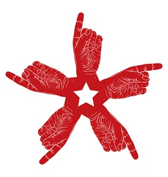 Five pointing hands abstract symbol with vector image