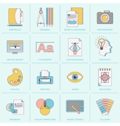 Graphic design icons flat line vector image vector image