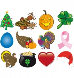 holiday icon set vector image vector image