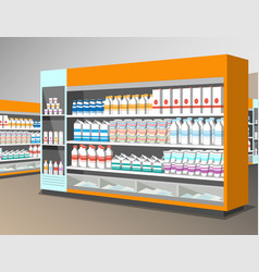 milk products shelf in the store vector image vector image