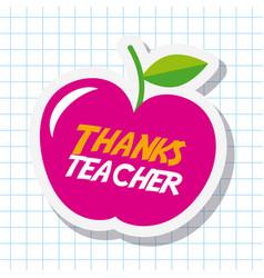 Thanks teacher card big pink apple celebration vector